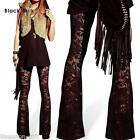 HX Fashion Ladies Leggings Lace Floral Hollow Flared Sexy Casual Elastic Pants