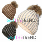 Real Animal Fur Pom Pom knit beanie ski cap Diamante Beanie Winter Warm Hat New