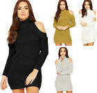 Womens Cable Knitted Jumper Dress Ladies High Turtle Neck Cut Out Cold Shoulder
