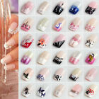 24PCS Fashion False French Acrylic Nail Art Tips Artificial Nails Fingernails BK
