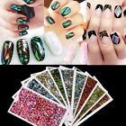 Nail Stickers Rainbow Foil Transfer 3D Nail Art Decal Nail Tips Designs Decor SZ