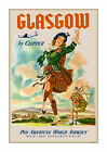 Pan Am - Glasgow Scotland - Vintage Airline Travel Poster/Print