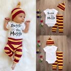 3PCS Newborn Baby Boy Top White Rompers Striped Pants Leggings Hat Outfits Sets