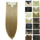 Clip In Natural Remy Human Hair Extensions Full Head Long Straight Black Blonde