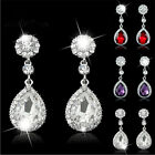 Trendy Rhinestone Bridal Water Drop Earrings Wedding Crystal Stud Earings EW