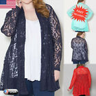 New Womens Loose Long Sleeve Floral Lace Hollow Coat Cardigan Blouse Tops Jacket