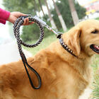 Pet Dog Leather Collar & Leash in 1 Braided Pet Traction Rope for Large Dogs New