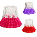 1PC Kids Girls Long Sleeve Princess Dress Lace Hollow Flower Party Dresses