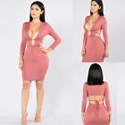 Women Sexy V Neck Bandage Dress Hollow Long Sleeve Evening Party Bodycon Dress