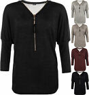 Womens Knitted Long Batwing Sleeve Zip V-Neck Ruched Gathered Ladies Baggy Top