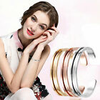Stainless Steel Cuff Bangle Hair Tie Bracelet For Women Band Elegant Indent