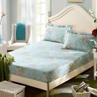 Floral Fitted Sheet Flat Sheet Single/Queen/King Size Pillowcases Set 100%Cotton