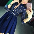 New Women Summer Casual Long Sleeve Party Evening Cocktail Lace Short Mini Dress