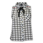 Ladies Top Womens Sleeveless Blouse Check Print Collared Neck Summer Party New