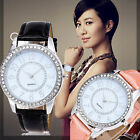 Fashion Women Bracelet Bangle Leather Crystal Dial Quartz Analog Wrist Watch UK