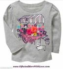 Baby Gap NWT Gray FLOWER CAT DOG CORSAGE DRESS TOP TEE KNIT SHIRT 2T 3T