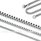 10x 1.5mm-3mm Mens Womens Silver Stainless Steel Square Box Link Chain Necklace