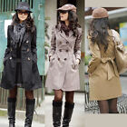 Women Autumn Long Sleeve Windbreaker Jacket Double-breasted Coat Outwear Fashion