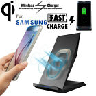 2 Coils Qi Wireless Fast Charger Charging Pad Dock Stand Holder For Samsung Lot