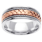 14K Two Tone White Rose Pink Gold Hand Braided Wedding Band 8.5mm (WJRL01294)