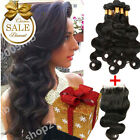 8A 400g Bundles Body Wave Thick Extensions Brazilian Human Hair W/ Closure Set