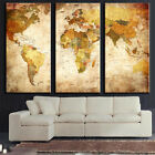 3 PCS Modern World Map Oil Painting Wall Picture Unframed Canvas Home Decor