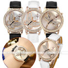 Ladies Rhinestones Butterfly Dragonfly Dial PU Leather Strap Quartz Wrist Watch