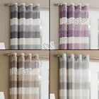 STRIPED VOILE NET CURTAIN PANEL EYELET RING TOP WHITE SILVER NATURAL PURPLE BLUE