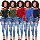 Women's Choker Round Neck Blouse Bodycon Ladies Caged Long Sleeve Tops T-Shirt