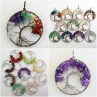 Natural Gemstone Amethyst Agate Tree of Life Chakra Healing Pendant Fit Necklace