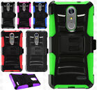 For ZTE Grand X4 COMBO Holster with Hard HYBRID KICK STAND Rubber Phone Case