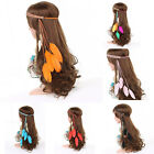 WOMEN BOHO STYLE FESTIVAL FEATHER LEAF HEADBAND HIPPIE WEAVE HAIRBAND ELASTIC
