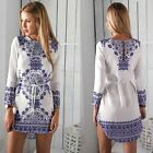Women Ladies Casual Floral Long Sleeve Dress Outfit Clothes Blue and White Top