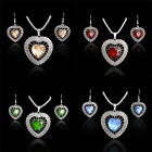 925 Silver Plated CZ Rhinestone Vintage Love Heart Necklace Earrings Jewelry Set