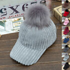 Unisex Adjustable Baseball Cap Winter Warm Beanie Women Fur Pom Ball Hip-Hop Hat