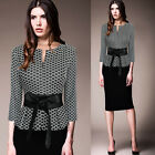 Womens Elegant Vintage Belted Tunic Slim Work Office Business Pencil Dress 4039
