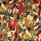 Daiwabo Geishas, Red, Black, White, & Metallic Gold by R. Kaufman; Cotton Fabric