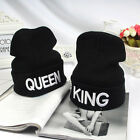 King & Queen Couple Beanie Knit Cap Hat Winter Skull Embroidered On Field Hat