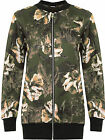 Womens Plus Floral Bomber Jacket Ladies Print Long Sleeve Zip Crew Neck 14-28
