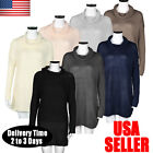 Women Winter Long Sleeve Sweater Jumper Knitted Loose Pullover Blouse Dress US
