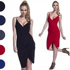 Glamour Empire. Women's Bodycon Silky Midi Strappy Pencil Dress Wrap Front. 234
