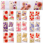 Fancy Real Dried Flowers Clear Bumper TPU Rubber Case Cover For Various Phones