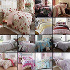 CATHERINE LANSFIELD FLORAL REVERSIBLE QUILT DUVET COVER SET RED GREY BLUE PINK