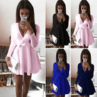 New Women Deep V Neck Belted Dress Lady Evening Party Cocktail Mini Skater Dress