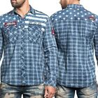 AFFLICTION Mens Embroidered Button Down Shirt AMERICAN BRAVE Biker USA Flag $88