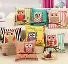 Cute Owls Cushion Throw Cover Polyester Cotton Pillow Case Sofa Car Seat Decor