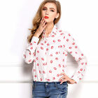 Women Fashion Lips Print Chiffon Long Sleeve Slim Shirts Blouse Casual Tops