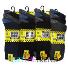 Mens 12 Pairs Heavy Duty Work Socks Size 6-11 Multipack Black Navy Grey Mix Sock
