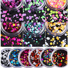 Round Nail Art Glitter Mix Sequins Pigment Acrylic UV Gel Tips Manicure Tool