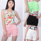 Casual Flirty Womens Ladies Side Zip High Waisted Shorts Hot Pants 4 Colors S0BZ